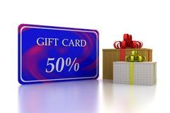 tarjeta azul del regalo 3D descuento del 50 por ciento y dos cajas Imagen de archivo libre de regalías