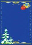 Tarjeta azul marino con el árbol y el regalo del Año Nuevo Fotografía de archivo