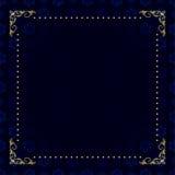 Tarjeta azul marino con el marco del oro Fotos de archivo
