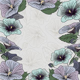 Tarjeta azul y púrpura del marco de la flor Fotografía de archivo libre de regalías