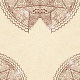 Tarjeta beige de la invitación de Brown con el cordón Mandala Decoration Fotografía de archivo libre de regalías