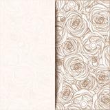 Tarjeta beige de la invitación del vintage con las rosas Ilustración del vector stock de ilustración