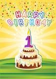 Tarjeta birthsday feliz de la plantilla con la torta y el candl stock de ilustración
