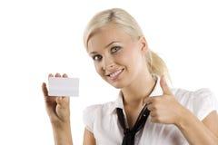 Tarjeta blanca aceptable Imágenes de archivo libres de regalías