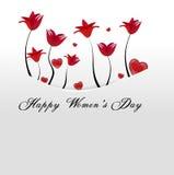 Tarjeta blanca, bolsillo con las flores rojas y corazones remetidos lejos Foto de archivo