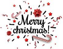 Tarjeta blanca de la Feliz Navidad con confeti Imagen de archivo