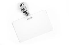 Tarjeta blanca de la identificación Imágenes de archivo libres de regalías