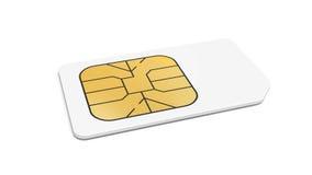 Tarjeta blanca de Sim en el fondo blanco Fotografía de archivo libre de regalías