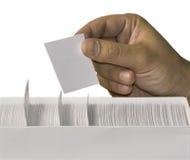 Tarjeta blanca en blanco a disposición Foto de archivo