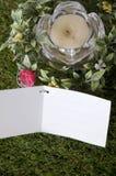 Tarjeta blanca en blanco en hierba Imagenes de archivo