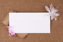 Tarjeta blanca para la enhorabuena Imagenes de archivo