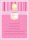 Tarjeta bonita de la invitación de la fiesta de bienvenida al bebé. Biberón Fotografía de archivo libre de regalías
