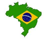 Tarjeta brasileña del mapa stock de ilustración
