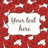 Tarjeta brillante de la invitación con las flores y los puntos rojos Imagen de archivo