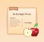 Tarjeta brillante de la receta con la manzana linda de la historieta. Foto de archivo libre de regalías