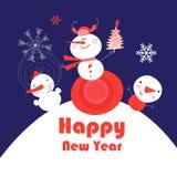 Tarjeta brillante del Año Nuevo con los muñecos de nieve Fotos de archivo libres de regalías
