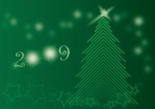 Tarjeta brillante verde 2009 del árbol de Chrismas ilustración del vector