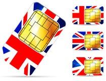 Tarjeta británica del sim Imagenes de archivo