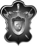 Tarjeta caballeresca de la armadura, espada, casco. Imágenes de archivo libres de regalías