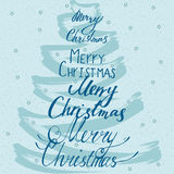 Tarjeta caligráfica de la Feliz Navidad Imagen de archivo