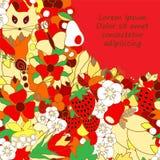 tarjeta cartel, plantilla del folleto con el gato, manzana fresa y f Foto de archivo libre de regalías