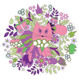 tarjeta cartel, plantilla del folleto con el gato, manzana y flor Imágenes de archivo libres de regalías