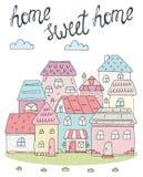 Tarjeta casera dulce casera Casas coloridas dibujadas mano Ilustración del vector stock de ilustración