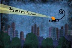 Tarjeta Cat Flying Over de Halloween la ciudad Imagen de archivo libre de regalías