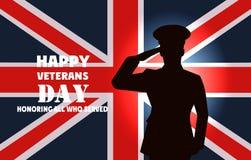 Tarjeta celebradora en honor del día de veteranos de la guerra Fotografía de archivo
