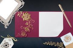 Tarjeta china de la invitación de Ed en negro Imágenes de archivo libres de regalías
