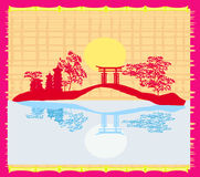 Tarjeta china decorativa del paisaje ilustración del vector