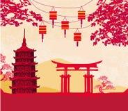 Tarjeta china del Año Nuevo - linternas tradicionales y edificios asiáticos