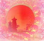 Tarjeta china del Año Nuevo - linternas tradicionales y edificios asiáticos Imagenes de archivo