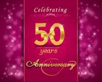 tarjeta chispeante de la celebración del aniversario de 50 años, 50.o aniversario Foto de archivo