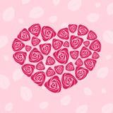 Tarjeta color de rosa del corazón de la tarjeta del día de San Valentín Fotografía de archivo