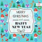 Tarjeta coloreada de la Navidad Diseño plano Vector Fotos de archivo libres de regalías