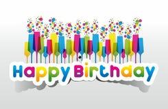 Tarjeta coloreada del feliz cumpleaños en backgroun de la pendiente libre illustration
