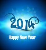 Tarjeta colorida azul de la Feliz Año Nuevo 2014 de la celebración hermosa Fotografía de archivo libre de regalías