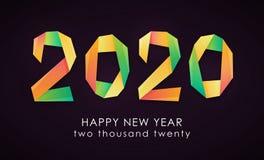 Tarjeta colorida de la Feliz Año Nuevo 2020 ilustración del vector