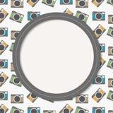 Tarjeta colorida de la invitación de las cámaras Imagen de archivo