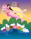 Tarjeta colorida de la torta de la luna del conejo de hadas de la luna Fotos de archivo libres de regalías