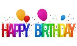 Tarjeta colorida del feliz cumpleaños con los globos y el confeti Imagen de archivo libre de regalías