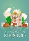 Tarjeta colorida del vector con la pirámide sobre México Idéntico y paciencia Viva México Cartel del viaje con los artículos mexi Fotos de archivo