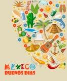 Tarjeta colorida del vector sobre México Dias de Buenos Cartel del viaje con los artículos mexicanos Imagenes de archivo
