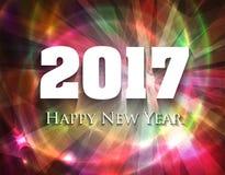 Tarjeta colorida muy brillante de los días de fiesta de la Feliz Año Nuevo 2017 stock de ilustración