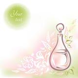 Tarjeta con aceite rosado de la flor de la botella de cristal Foto de archivo libre de regalías