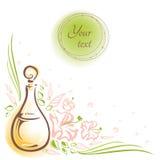Tarjeta con aceites cosméticos, flores, brotes y hojas de la botella de cristal Imagen de archivo libre de regalías