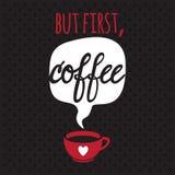 Tarjeta con café deletreado ilustración del vector