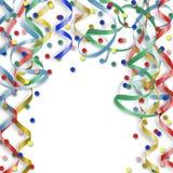 Tarjeta con confeti y bobinadores de cintas en modo continuo al día de fiesta Fotos de archivo libres de regalías
