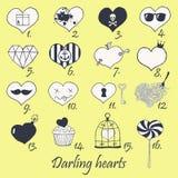 Sistema de corazones dibujados mano estilizada Fotos de archivo